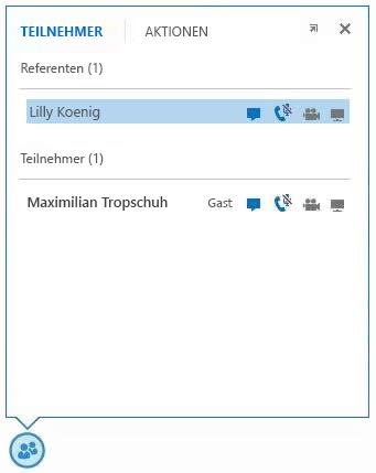 Screenshot der Symbole neben dem Namen eines Teilnehmers, mit denen die Verfügbarkeit der Chat-, Audio-, Video- und Freigabefunktionen angezeigt wird