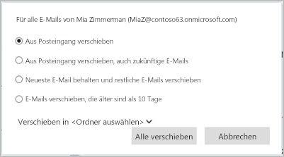 Wählen Sie aus, wie E-Mails von diesem Absender behandelt werden sollen.