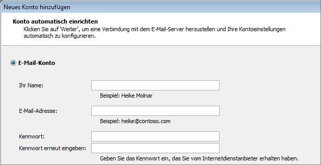 Outlook 2010, Name und E-Mail-Adresse hinzufügen