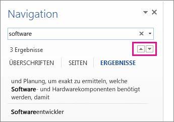 Pfeile für Suchergebnisse im Navigationsbereich
