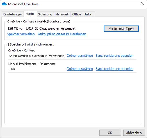 Screenshot der Kontoeinstellungen im OneDrive-Synchronisierungsclient.