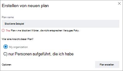 """Screenshot: Gruppenbenennungsrichtlinie – """"Neuen Plan erstellen"""", blockiertes Beispiel"""