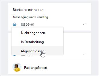 Klicken Sie auf das Statussymbol und ändern status