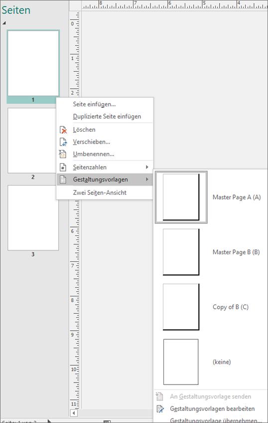 Ein Screenshot zeigt die für Gestaltungsvorlagen ausgewählte Kontextmenüoption mit verfügbaren Gestaltungsvorlagen Optionen.