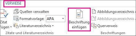 Schaltfläche 'Beschriftung einfügen' auf der Registerkarte 'Verweise'