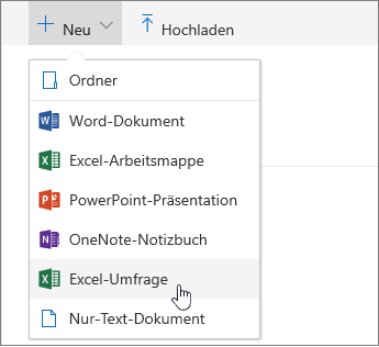 "Menü ""Neu"", Excel-Befehl ""Umfrage"""