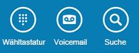 Verwenden Sie die Symbole am Fuß des Bildschirm, um die Wähltastatur anzuzeigen, die Voicemail abzurufen oder nach Kontakten zu suchen