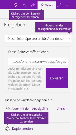 Screenshot des Sendens einer Kopie von Notizen aus OneNote