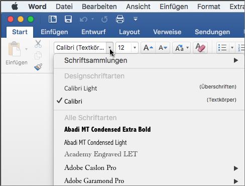 Klicken Sie auf die Schriftart-Dropdownliste in Word, um die Schriftart Ihres Texts zu ändern.