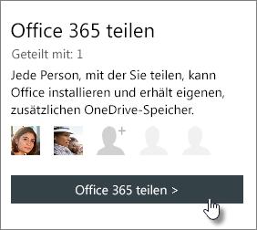 """Screenshot des Abschnitts """"Office 365 teilen"""" auf der Seite """"Mein Konto"""", der zeigt, dass das Abonnement mit einer Person geteilt wurde"""