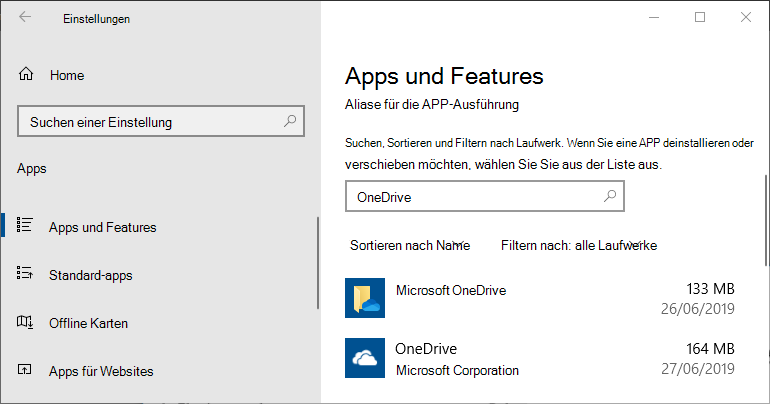Einstellungen der OneDrive-App in Windows