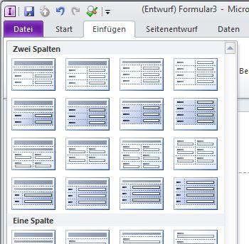 Erstellen des Layouts für ein InfoPath 2010-Formular