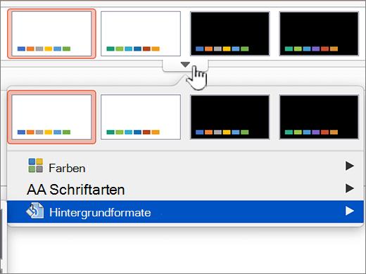 Optionen für Tabellenformat Hintergrund aufrufen