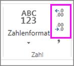 Erhöhen oder Verringern der Anzahl von Dezimalstellen für die Zahlenformatierung