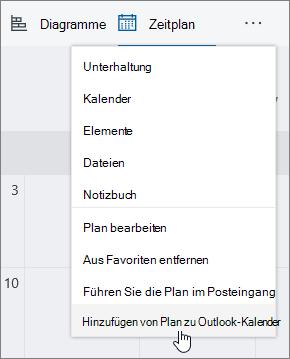 Screenshot der Planer Menü mit hinzufügen Plan zu Outlook-Kalender ausgewählt.