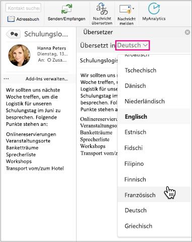 Verwenden Sie die Dropdownliste, um die Sprache auszuwählen, in die Ihre Nachricht übersetzt wird