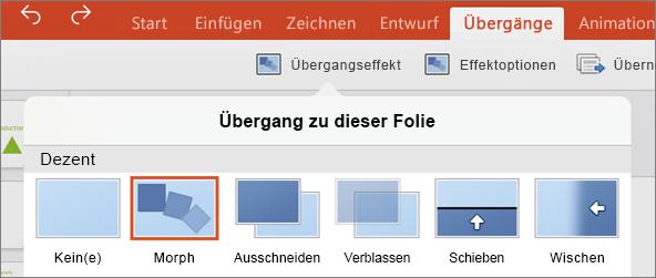 "Zeigt den Morph-Übergang im Menü ""Übergang"" in PowerPoint 2016 für iPad"