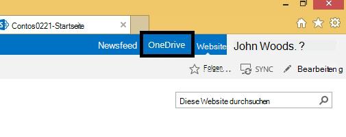 OneDrive-Symbol auf SharePoint 2013-Website