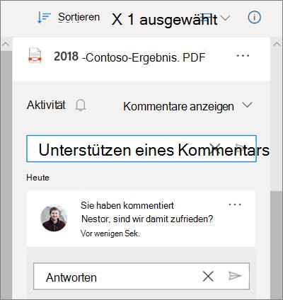 Der OneDrive-Detailbereich mit Kommentaren, die in einer freigegebenen Datei hinterlassen wurden, und dem Feld zum Hinzufügen eines Kommentars
