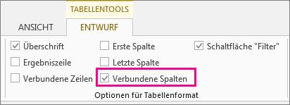 'Tabellentools' mit der Registerkarte 'Entwurf' und dem Feld 'Verbundene Spalten'
