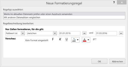 """Screenshot der Benutzeroberfläche von """"Neue Formatierungsregel"""""""