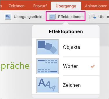 Zeigt Effektoptionen für den Morph-Übergang in PowerPoint 2016 für iPad