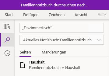 Suche nach einem Textausdruck in OneNote für Windows 10