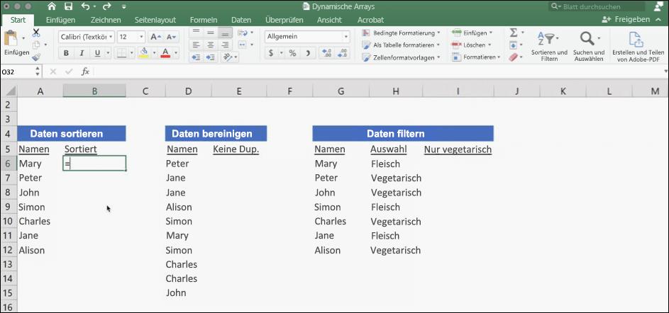 Screenshot von Excel-Daten mit dynamischen Arrays