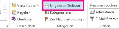 Auf der Registerkarte 'Start' auf 'Ungelesen/Gelesen' klicken