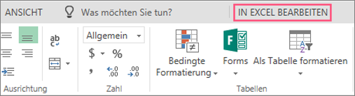 Schaltfläche 'In Excel öffnen'