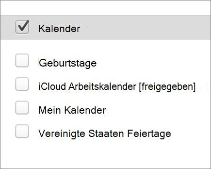 iCloud-Kalender in Outlook 2016 für Mac