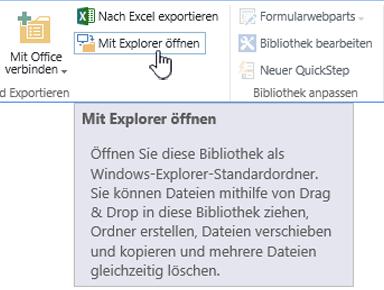 """SharePoint 2016: """"Mit Explorer öffnen"""" in IE11"""