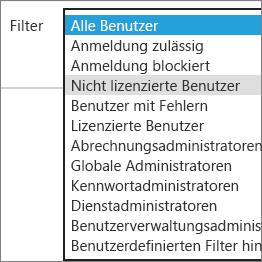 Wählen Sie nicht lizenzierte Benutzer aus der Filterliste aus.
