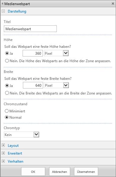 """Screenshot des Dialogfelds """"Medienwebpart"""" in SharePoint Online, um Einstellungen der Optionen """"Darstellung"""", """"Layout"""", """"Erweitert"""" und """"Verhalten"""" für Mediendateien festzulegen.Die Optionen für """"Darstellung"""" werden gezeigt, einschließlich Titel, Höhe, Breite sowie Chromstatus und Chromtyp."""