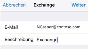 Exchange-Anmeldung