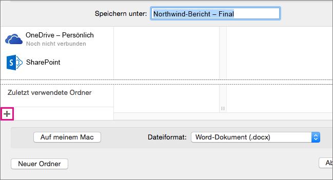 """Zum Hinzufügen eines Onlinediensts klicken Sie im Dialogfeld """"Speichern unter"""" am Ende der linken Spalte auf das Pluszeichen."""