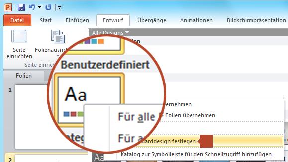 """Klicken mit der rechten Maustaste auf das neue Design unter der Überschrift """"Benutzerdefiniert"""", und wählen Sie dann """"Als Standarddesign festlegen"""" aus."""