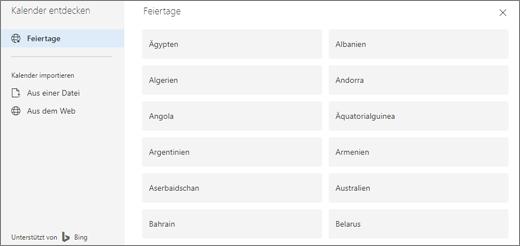 Ein Screenshot zeigt die Option Feiertage in Kalender ermitteln.