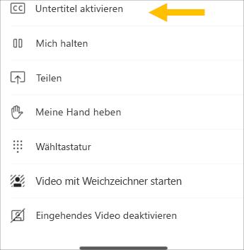 Live-Untertitel aktivieren – Screenshot Mobilgerät