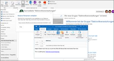 """Dialogfeld """"Andere Personen einladen"""" im Hintergrund und E-Mail-Nachrichten an die eingeladene Person im Vordergrund"""