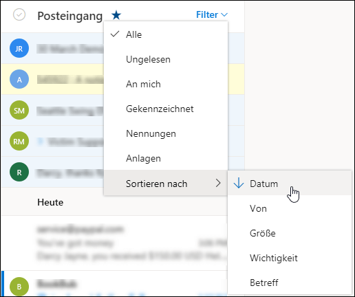 """Screenshot des Menüs """"Filter"""" mit """"Sortieren nach"""" ausgewählt"""