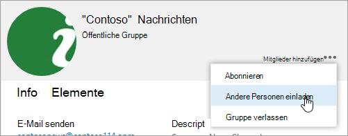 """Screenshot der Schaltfläche """"Andere einladen"""" auf der Karte """"Gruppe"""""""