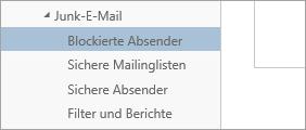 """Screenshot von """"Blockierte Absender"""" im Menü """"Optionen"""""""