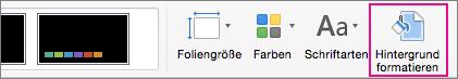"""""""Hintergrund formatieren"""" auf der Registerkarte """"Entwurf"""""""