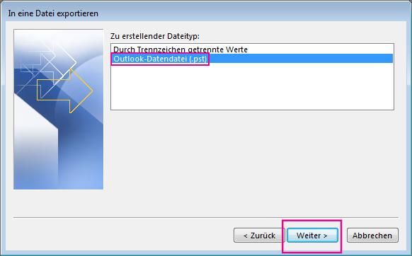 """Wählen Sie """"Outlook-Datendatei (PST)"""" und dann """"Weiter"""" aus."""