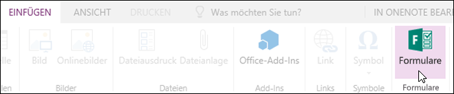 """Option """"Formulare einfügen"""" in OneNote Online"""
