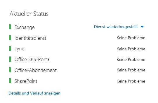 Das Office 365 Health Dashboard mit allen Arbeitslasten auf Grün außer Exchange. Hier wird angezeigt, dass der Dienst wiederhergestellt wurde.