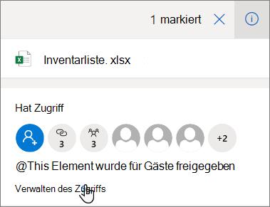 """Der Detailbereich in OneDrive for Business mit dem Link """"Zugriff verwalten"""""""