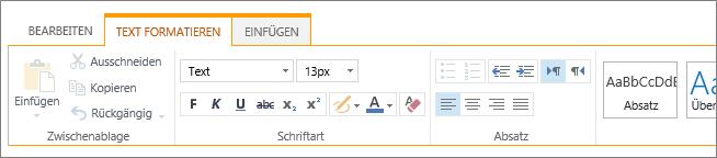 """Registerkarte """"Text formatieren"""" für Listen"""