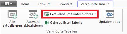 Registerkarte 'Verknüpfte Tabelle' auf der eine Excel-Tabelle angegeben ist